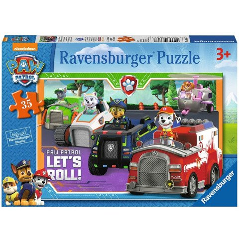 Puzzle Lett's Roll! Patrula Catelusilor 4 in 1 Ravensburger 35 piese